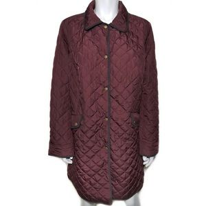 {talbots} burgundy quilted puffer jacket